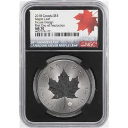 2018 $5 Canada Maple Leaf Silver Coin NGC MS70 Incuse Design First Day of Production
