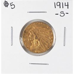 1914-S $5 Indian Head Half Eagle Gold Coin