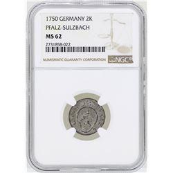 1750 Germany 2 Kreuzer Pfalz-Sulzbach Coin NGC MS62