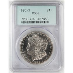 1895-S $1 Morgan Silver Dollar Coin PCGS MS63 Old Green Holder