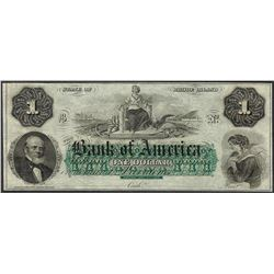 1800's $1 The Bank of America Rhode Island Obsolete Note