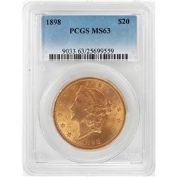 1898 $20 Liberty Head Double Eagle Gold Coin PCGS MS63