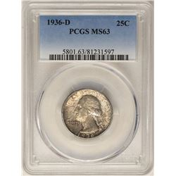 1936-D Washington Quarter Coin PCGS MS63