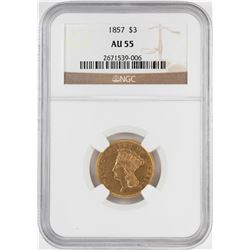 1857 $3 Indian Princess Head Gold Coin NGC AU55