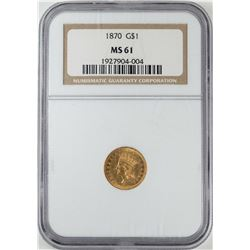 1870 $1 Indian Princess Head Gold Dollar Coin NGC MS61