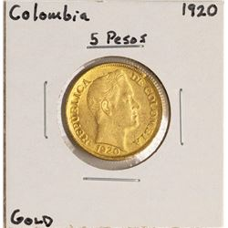 1920 Columbia 5 Pesos Gold Coin