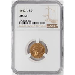 1912 $2 1/2 Indian Head Quarter Eagle Gold Coin NGC MS61
