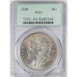 1898 $1 Morgan Silver Dollar Coin PCGS MS63 Old Green Holder