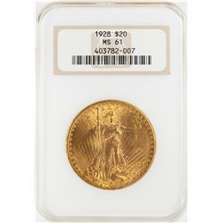 1928 $20 St. Gaudens Double Eagle Gold Coin NGC MS61