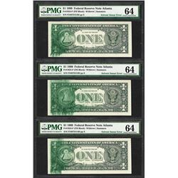 (3) Consec. 1999 $1 Federal Reserve Notes Solvent Smear ERROR PMG Ch. Uncirculated 64