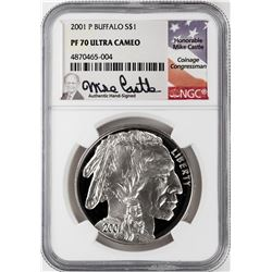 2001-P $1 Proof American Buffalo Commemorative Silver Dollar Coin NGC PF70 Mike Castle