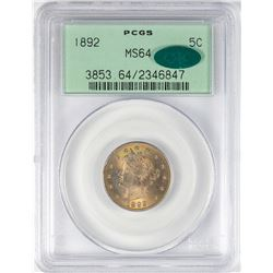 1892 Liberty V Nickel Coin PCGS MS64 CAC Amazing Color