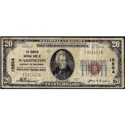1929 $20 Franklin NB of Washington, D.C. CH# 10504 National Currency Note