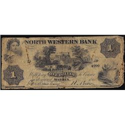 1861 $1 The North Western Bank Warren, PA Obsolete Banknote