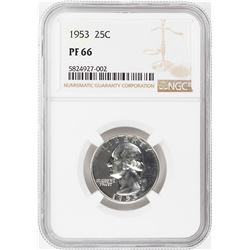 1953 Proof Washington Quarter Coin NGC PF66