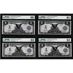 Low Serial # Cut Sheet of 1899 $1 Black Eagle Silver Certificate Notes PMG 64EPQ/66EPQ