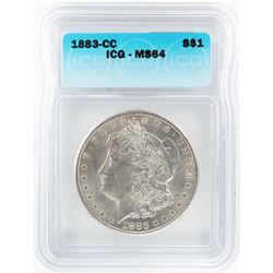 1883-CC $1 Morgan Silver Dollar Coin ICG MS64