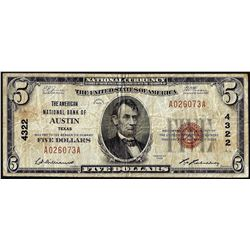 1929 $5 American National Bank of Austin, Texas CH# 4322 National Currency Note