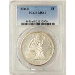 1860-O $1 Seated Liberty Silver Dollar Coin PCGS MS61