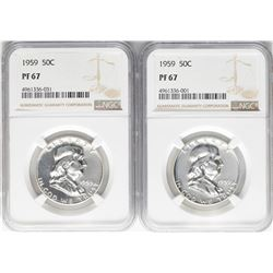 Lot of (2) 1959 Franklin Half Dollar Coins NGC PF67