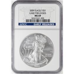 2009 $1 American Silver Eagle Coin NGC MS69 Early Releases