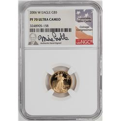 2006-W Proof $5 American Gold Eagle Coin NGC PF70 Ultra Cameo Mike Castle Signature