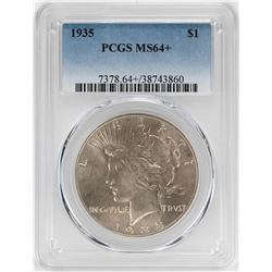 1935 $1 Peace Silver Dollar Coin PCGS MS64+
