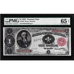 1891 $1 Treasury Note Fr.352 PMG Gem Uncirculated 65EPQ