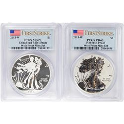 West Point Mint Set 2013-W $1 American Silver Eagle Coins PCGS MS69/PR69 First Strike