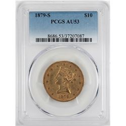 1879-S $10 Liberty Head Eagle Gold Coin PCGS AU53