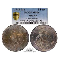 1948-MO 5 Pesos Mexico Coin PCGS MS66
