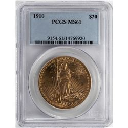 1910 $20 St. Gaudens Double Eagle Gold Coin PCGS MS61