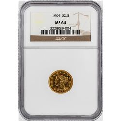 1904 $2 1/2 Liberty Head Quarter Eagle Gold Coin NGC MS64