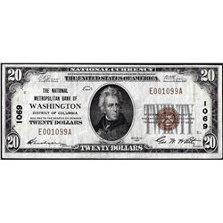 1929 $20 Metropolitan Bank of Washington, D.C. CH# 1069 National Currency Note