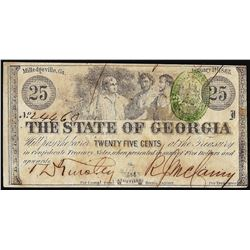 1863 Twenty-Five Cents State of Georgia Milledgeville, GA Obsolete Banknote