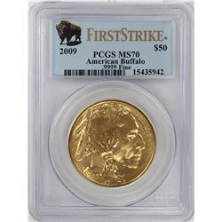 2009 $50 American Gold Buffalo Coin PCGS MS70 First Strike