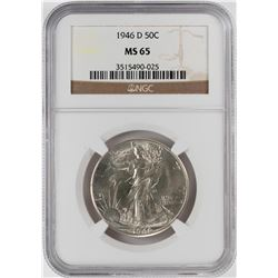 1946-D Walking Liberty Half Dollar Coin NGC MS65