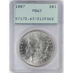1887 $1 Morgan Silver Dollar Coin PCGS MS63 Old Green Rattler