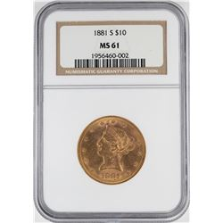 1881-S $10 Liberty Head Eagle Gold Coin NGC MS61
