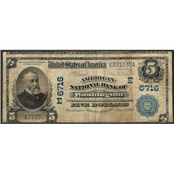 1902 DB $5 American NB of Washington, DC CH# 6716 National Currency Note