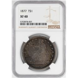 1877 $1 Trade Silver Dollar Coin NGC XF40