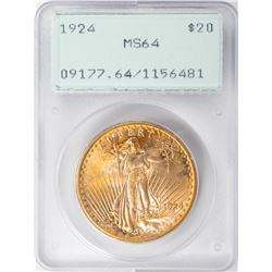 1924 $20 St. Gaudens Double Eagle Gold Coin PCGS MS64 Old Green Rattler