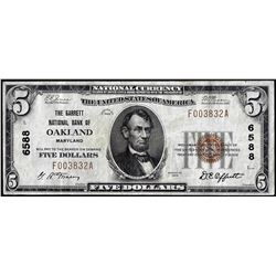 1929 $5 Garrett NB of Oakland, Maryland CH# 6588 National Currency Note