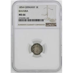 1854 Germany Bavaria Kreuzer Coin NGC MS66