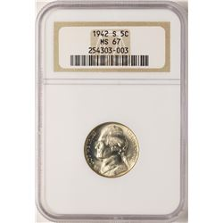 1942-S Jefferson Nickel Coin NGC MS67