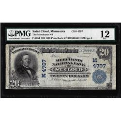 1902 PB $20 St. Cloud, MN CH# 4797 National Currency Note Fr.654 PMG Fine 12