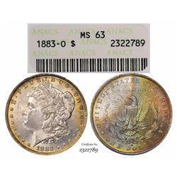 1883-O $1 Morgan Silver Dollar Coin ANACS MS63 Amazing Toning