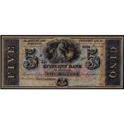 1800's $5 Citizens Bank Louisiana New Orleans, LA Obsolete Banknote