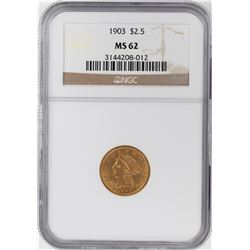 1903 $2 1/2 Liberty Head Quarter Eagle Gold Coin NGC MS62