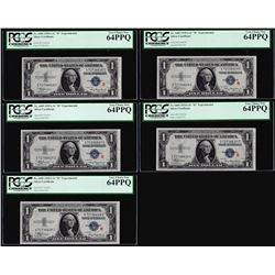 "(5) Consec. 1935A $1 ""R"" Experimental Silver Certificate Notes PCGS Choice New 64PPQ"